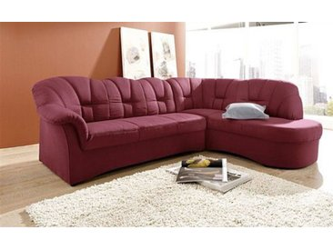 DOMO collection Ecksofa, mit Ottomane, wahlweise mit Bettfunktion, rot, Microfaser PRIMABELLE®