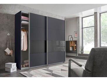 Wimex Schwebetürenschränke »Bramfeld« mit Glaselementen und zusätzlichen Einlegeböden, grau, 225 cm x 236 cm x 64 cm