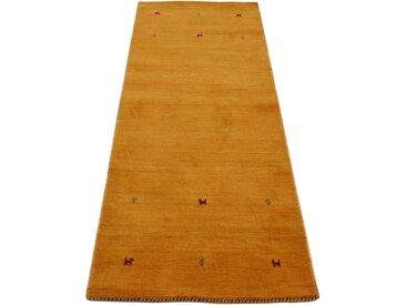 Läufer »Gabbeh Uni«, carpetfine, rechteckig, Höhe 15 mm, reine Wolle, handgewebt, Gabbeh Tiermotiv, Wohnzimmer, gelb, 80 cm x 400 cm x 15 mm