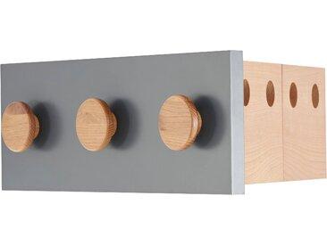 andas Garderobenleiste »Folder«, aus Eiche, Hakenleiste mit 3 Haken, platzsparende Klappfunktion für 4 Bügel, Breite 50cm, Design by Michael Hilgers