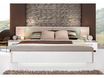 FORTE Schlafzimmer-Set »Rondino,«, mit Polsterkopfteil und LED-Beleuchtung, wahlweise mit oder ohne Bettbank, beige