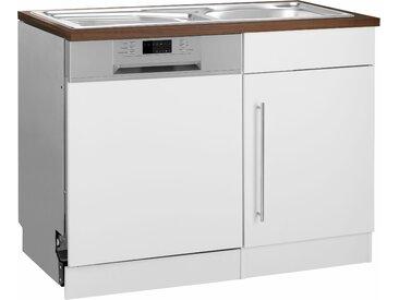 HELD MÖBEL Spülenschrank »Samos« 110 cm breit, inkl. Tür/Sockel für Geschirrspüler, weiß