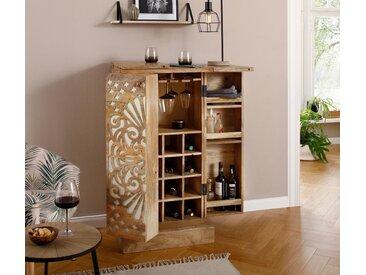 Home affaire Barschrank »Alankar« aus massivem Mangoholz, mit schöner Fräsung auf den Türenfronten, Höhe 113 cm