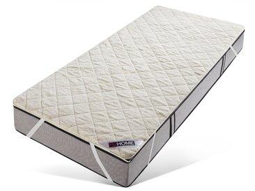 Matratzenauflage »Puffy wasserdicht«, my home, (1 oder 2-tlg), Mit kuschelweicher wärmender Lammfell-Optik, weiß, 100 cm x 200 cm