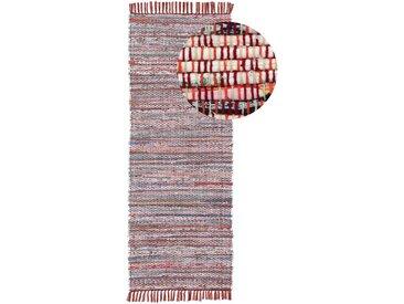 Läufer »Kelim Chindi«, carpetfine, rechteckig, Höhe 6 mm, Wolle und Fransen, rot, 80 cm x 400 cm x 6 mm