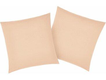 Kissenbezüge »Luisa«, my home (2 Stück), mit leichtem Glanzeffekt, beige, 80 cm x 80 cm