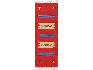 Läufer »Kelim Dodi«, carpetfine, rechteckig, Höhe 5 mm, Wendeteppich, Flachgewebe, reine Baumwolle, mit Fransen, rot, 75 cm x 250 cm x 5 mm