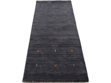 Läufer »Gabbeh Uni«, carpetfine, rechteckig, Höhe 15 mm, reine Wolle, handgewebt, Gabbeh Tiermotiv, Wohnzimmer, schwarz, 80 cm x 400 cm x 15 mm