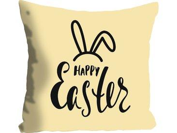 Kissenhülle »Happy Easter yellow«, queence (1 Stück), mit einem österlichen Schriftzug, gelb