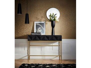 Leonique Sideboard »Minfi«, in 3D-Optik, Konsolentisch mit goldfarbenem Metallgestell, Schminktisch, schwarz