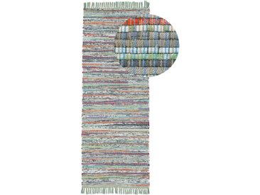 Läufer »Kelim Chindi«, carpetfine, rechteckig, Höhe 6 mm, Wolle und Fransen, grün, 80 cm x 300 cm x 6 mm