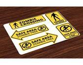 Abakuhaus Platzset, »Waschbare Stoff Esszimmer Küche Tischdekorations Digitaldruck«, (4-teilig, 4 Teilig-St., Set aus 4x), Zombie Safe Area Zone
