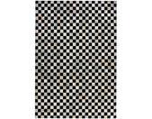 Patchwork Teppich in Schwarz und Weiß Echtfell