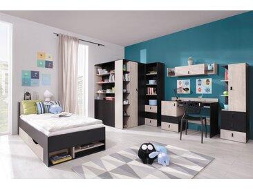 Jugendzimmer Komplett - Set F Aalst, 6-teilig, Eiche / Creme / Schwarz
