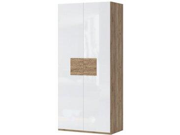 Drehtürenschrank / Kleiderschrank Manase 15, Farbe: Eiche Braun / Weiß Hochglanz - 224 x 102 x 56 cm (H x B x T)