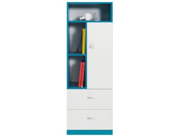 Jugendzimmer - Schrank Geel 07, Weiß / Türkis - Abmessungen: 135 x 45 x 40 cm (H x B x T)