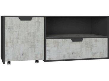 Jugendzimmer TV Unterschrank Sprimont 10, Farbe: Dunkelgrau / Grau - Abmessungen: 45 x 120 x 50 cm (H x B x T)