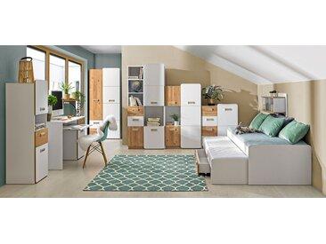 Jugendzimmer Komplett - Set I Dennis, 8-teilig, Farbe: Esche Weiß