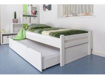 Einzelbett / Gästebett Easy Premium Line K1/1h inkl. 2. Liegeplatz und 2 Abdeckblenden, 90 x 200 cm Buche Vollholz massiv weiß lackiert