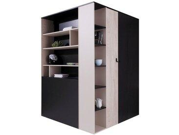 Jugendzimmer - Drehtürenschrank / Eckkleiderschrank Aalst 01, Farbe: Eiche / Creme / Schwarz - Abmessungen: 190 x 135 x 135 cm (H x B x T)