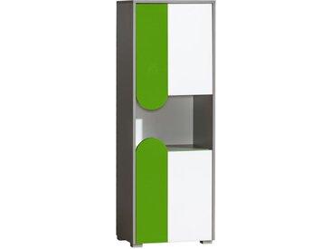 Jugendzimmer - Schrank Klemens 04, Farbe: Grün / Weiß / Grau - Abmessungen: 144 x 50 x 38 cm (H x B x T)