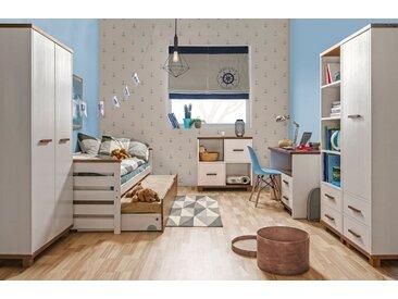 Jugendzimmer Komplett - Set D Hermann, 8-teilig, Farbe: Weiß gebleicht / Nussfarben, teilmassiv