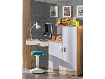 Kinderzimmer - Schreibtisch Fabian 11, Farbe: Eiche Hellbraun / Weiß - 120 x 150 x 50 cm (H x B x T)