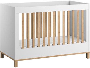 Babybett / Gitterbett Lijan 06, Farbe: Weiß / Eiche - Liegefläche: 70 x 140 cm (B x L)