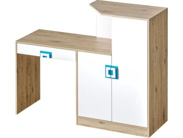 Kinderzimmer - Schreibtisch Fabian 11, Farbe: Eiche Hellbraun / Weiß / Blau - 120 x 150 x 50 cm (H x B x T)