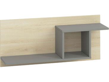 Jugendzimmer - Hängeregal / Wandregal Jurupa 09, Farbe: Buche / Platingrau - Abmessungen: 41 x 92 x 24 cm (H x B x T)