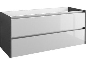 Waschtischunterschrank Kolkata 36 mit Siphonausschnitt, Farbe: Weiß glänzend / Anthrazit glänzend – 50 x 120 x 46 cm (H x B x T)