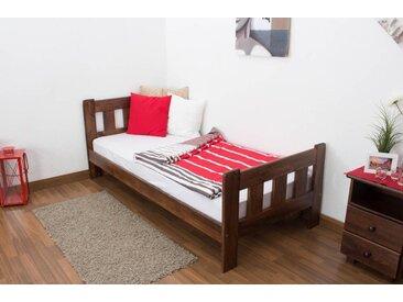 Einzelbett / Gästebett Kiefer Vollholz massiv Nussfarben A22, inkl. Lattenrost - Abmessung 90 x 200 cm