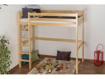 Kinderbett / Hochbett Kiefer massiv Vollholz natur 120 – Abmessung 90 x 200 cm