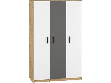 Jugendzimmer - Drehtürenschrank / Kleiderschrank Sallingsund 02, Farbe: Eiche / Weiß / Anthrazit - Abmessungen: 191 x 120 x 51 cm (H x B x T), mit 3 Türen und 5 Fächern