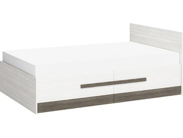 Einzelbett / Gästebett Knoxville 17, Farbe: Kiefer Weiß / Grau - Liegefläche: 120 x 200 cm (B x L), mit 2 Schubladen
