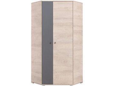 Jugendzimmer Drehtürenschrank / Eckschrank Chiny 02, Farbe: Eiche / Grau - Abmessungen: 190 x 90 x 90 cm (H x B x T)