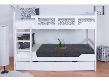 Stockbett für Erwachsene Easy Premium Line K12/n inkl. 2 Schubladen und 2 Abdeckblenden, Kopf- und Fußteil gerade, Buche Vollholz massiv Weiß - Maße: 90 x 200 cm, teilbar