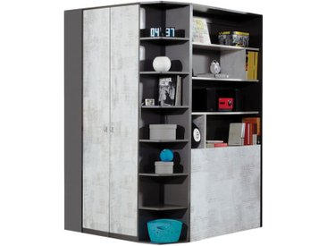 Jugendzimmer Drehtürenschrank / Eckschrank Ohey 01, Farbe: Dunkelgrau / Hellgrau - Abmessungen: 195 x 135 x 135 cm (H x B x T)