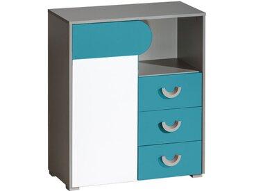 Jugendzimmer - Kommode Klemens 06, Farbe: Blau / Weiß / Grau - Abmessungen: 94 x 80 x 38 cm (H x B x T)