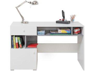 Jugendzimmer - Schreibtisch Lede 10, Farbe: Grau / Weiß - Abmessungen: 76 x 125 x 55 cm (H x B x T)