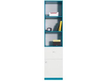 Jugendzimmer - Schrank Geel 05, Weiß / Türkis - Abmessungen: 195 x 45 x 40 cm (H x B x T)