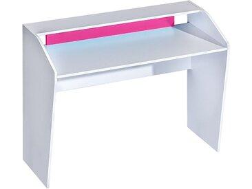Kinderzimmer - Schreibtisch Frank 09, Farbe: Weiß / Rosa - 91 x 120 x 50 cm (H x B x T)