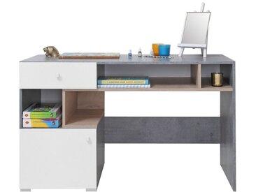Jugendzimmer - Schreibtisch Lede 10, Farbe: Grau / Eiche / Weiß - Abmessungen: 76 x 125 x 55 cm (H x B x T)