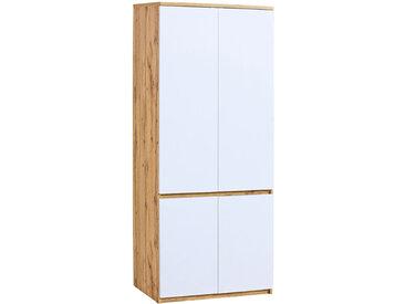 Jugendzimmer - Drehtürenschrank / Kleiderschrank Alard 01, Farbe: Eiche / Weiß - Abmessungen: 195 x 80 x 52 cm (H x B x T)