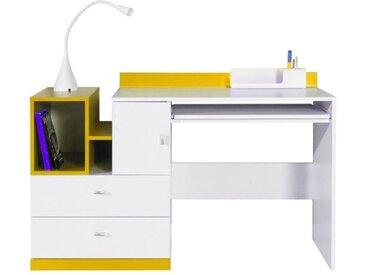 Jugendzimmer - Schreibtisch Geel 32, Weiß / Gelb - Abmessungen: 83 x 130 x 55 cm (H x B x T)