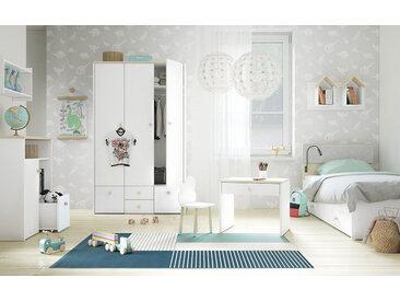 Kinderzimmer Komplett - Set A Egvad, 9-teilig, Farbe: Weiß / Buche