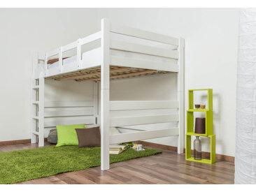 Hochbett für Erwachsene Easy Premium Line K15/n, Buche Vollholz massiv weiß lackiert, teilbar - Maße: 120 x 190 cm