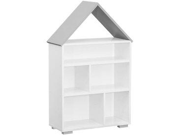 Kinderzimmer - Bücherregal Daniel 01, Farbe: Weiß / Grau - 117 x 83 x 30 cm (H x B x T)