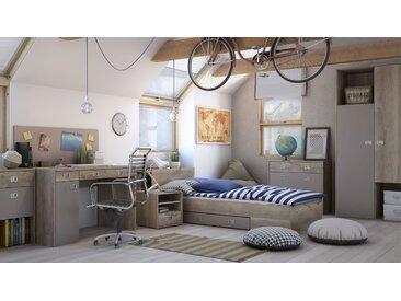 Jugendzimmer Komplett - Set A Cardozo, 7-teilig, Farbe: Eiche / Grau