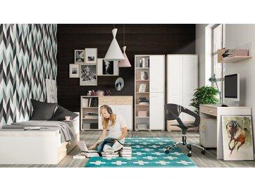 Jugendzimmer Komplett - Set J Forks, 7-teilig, Farbe: Eiche / Weiß